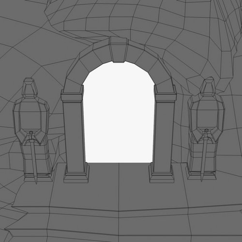Ancient entrance with stone statues