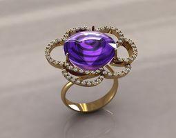 Ring flower amethyst 3D printable model