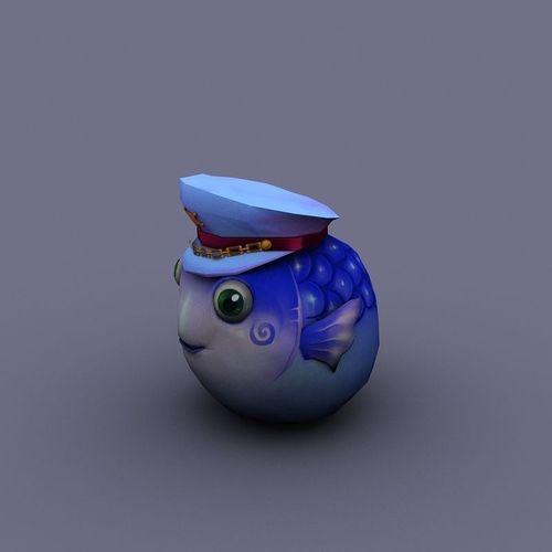 fish Ball blue cartoon3D model