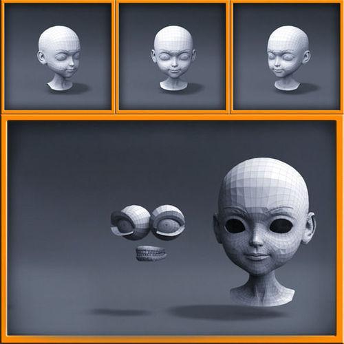 Cartoon girl head3D model