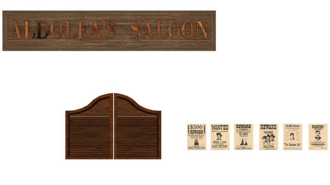 Animated Swinging Door : D model saloon doors vr ar low poly animated obj