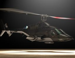 Bell 222 Airwolf Helicopter 3D Model