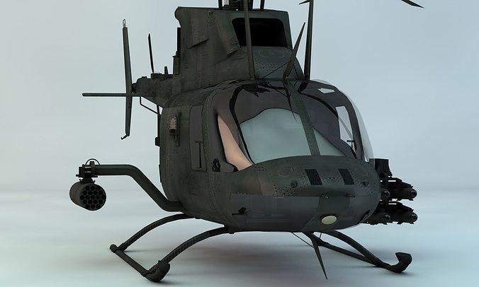 kiowa warrior reconnasiance helicopter 3d model max obj 3ds fbx c4d skp 1