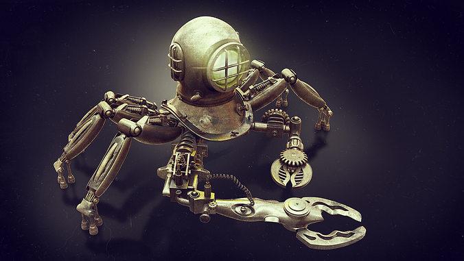 robot diver 3d model obj mtl fbx ma mb 1