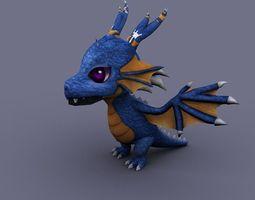 funny dragon blue cartoon 3D Model