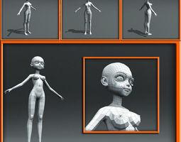 Girl Low Poly Base Model 3D Model