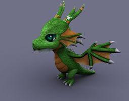 funny dragon green cartoon 3D Model