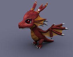 funny dragon red cartoon 3D Model