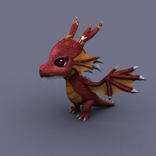 funny dragon red cartoon3D model