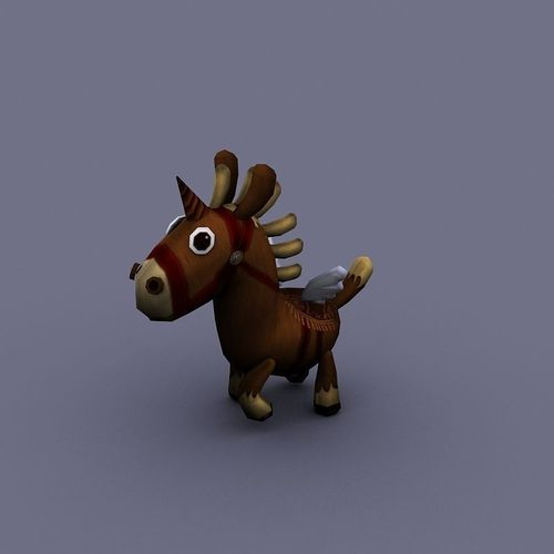 funny horse brown cartoon3D model