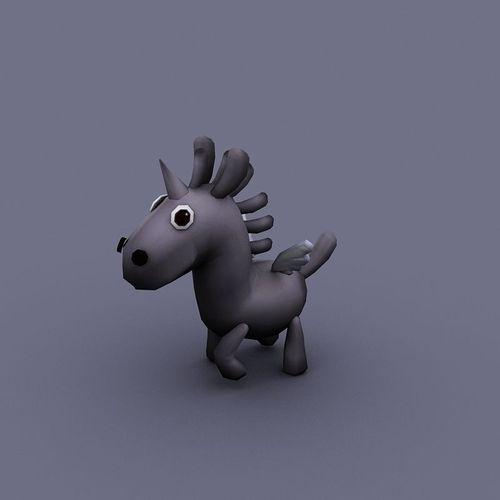 funny horse gray cartoon3D model