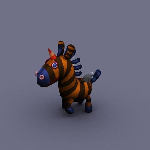 funny horse yellow cartoon3D model