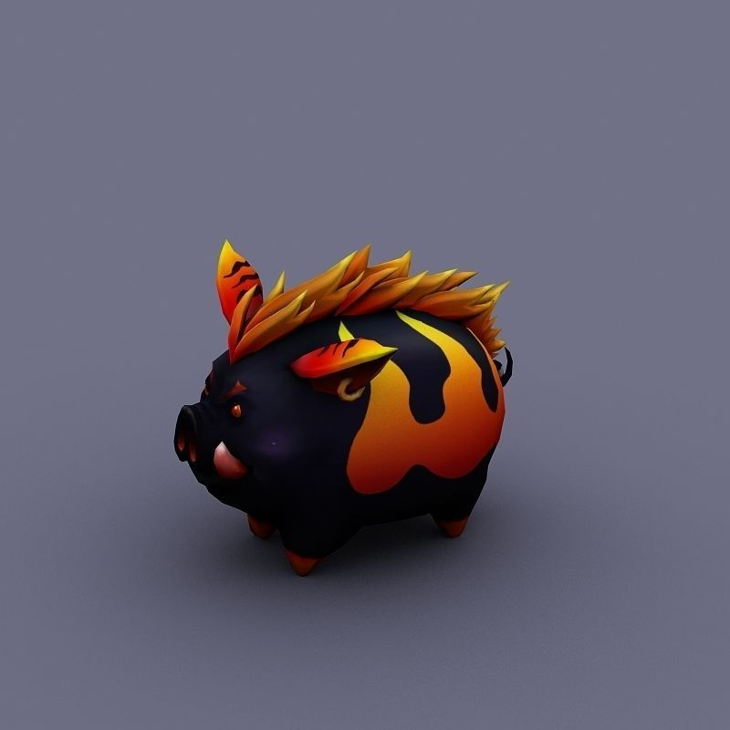 funny boar evil pig cartoon animal 3D Model Game ready ...