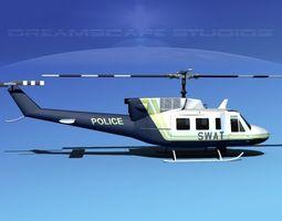bell 212 v09 police swat 3d model rigged max obj 3ds lwo lw lws dxf stl