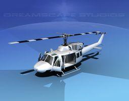 Bell 212 V30 White Livery 3D Model