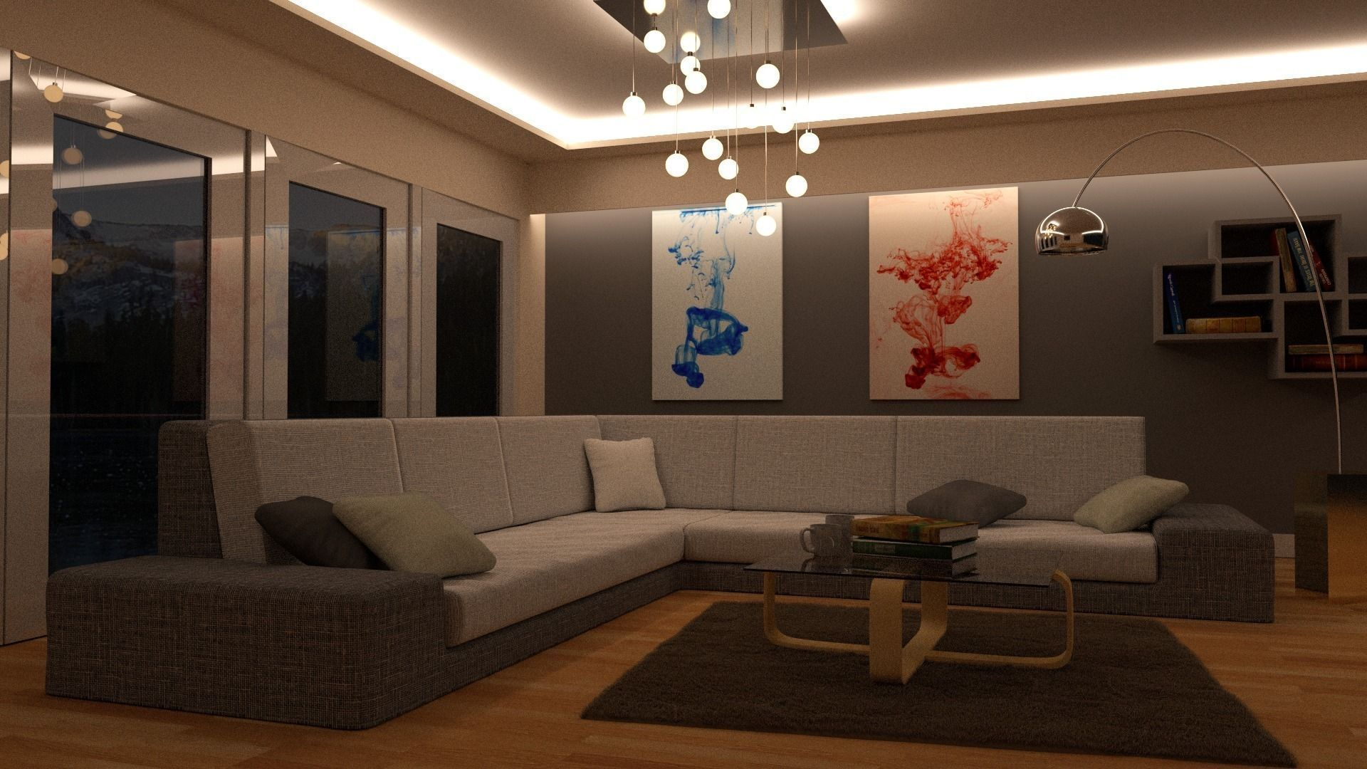 lounge room day and night scene blender mo