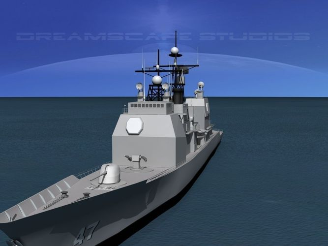 Ticonderoga class cruiser cg55 uss leyte gulf 3d model rigged max