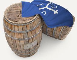 Rum wood barrels - East Indian Trading style 3D Model