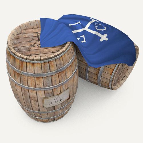 Rum wood barrels - East Indian Trading style3D model