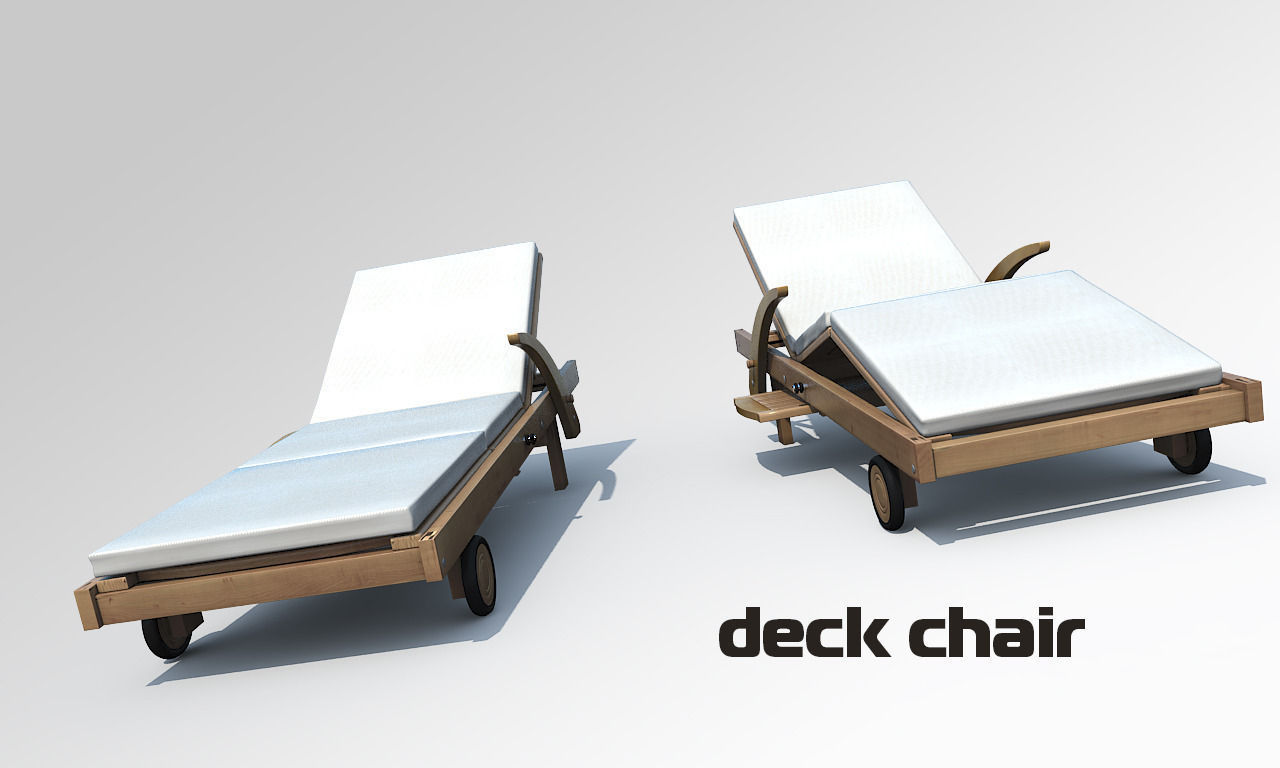 Lounge chair outdoor wood patio deck 3d model obj mtl cgtrader com -  Deck Chair 3d Model Max Obj Mtl 3