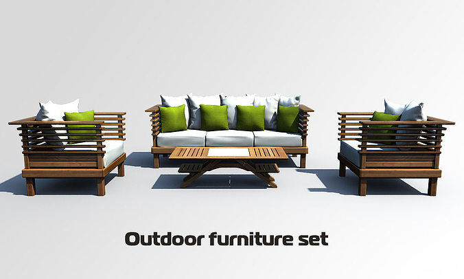 Outdoor furniture set 3d model cgtrader for Outdoor furniture 3d max