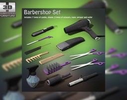 barbershop set 3d asset low-poly
