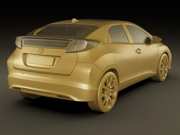 Honda civic eu 2012 5 door 3d model max obj 3ds fbx for Different honda civic models