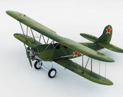 Po-2 Polikarpov Soviet biplane 3D Model