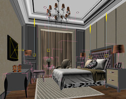 3d bedroom or hotel room photoreal