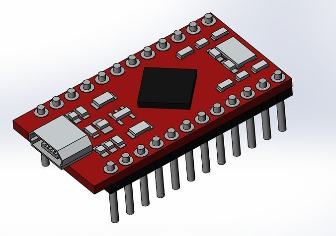 arduino pro micro 3d model sldprt sldasm slddrw 1