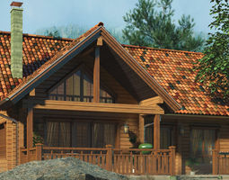 Classic Private Log House 180m 3D model