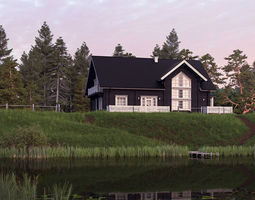 Classic Private Log House 320m 3D