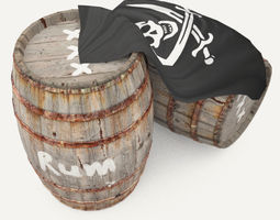 Rum wooden barrels - pirate style 3D Model