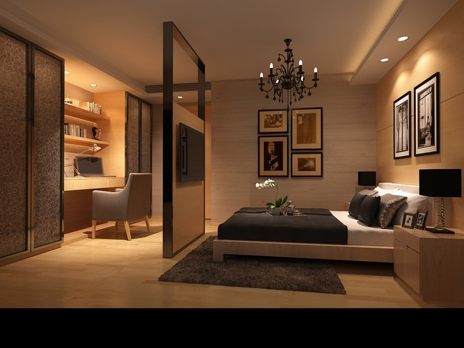 Bedroom or hotel room photoreal 3d model max - Beds for small space model ...