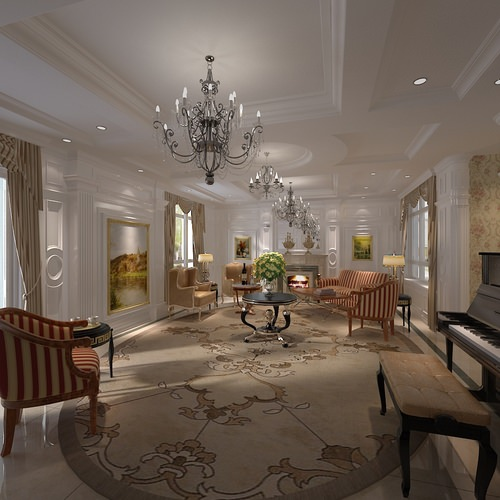 Home Design Ideas Classy: 3D Model Elegant Living Room