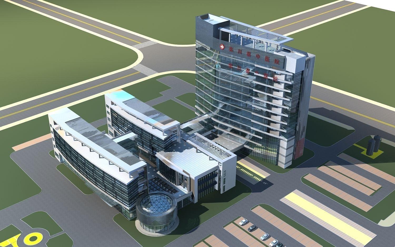 Hospital Building 0010 3d Model Max