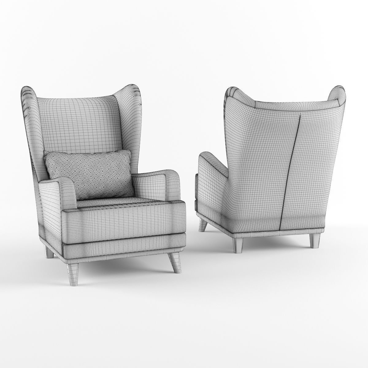 Armchair with headrest and pillow 3D Model .max .obj .fbx ...