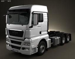 man tgx tractor truck 3 axis 2012 3d model