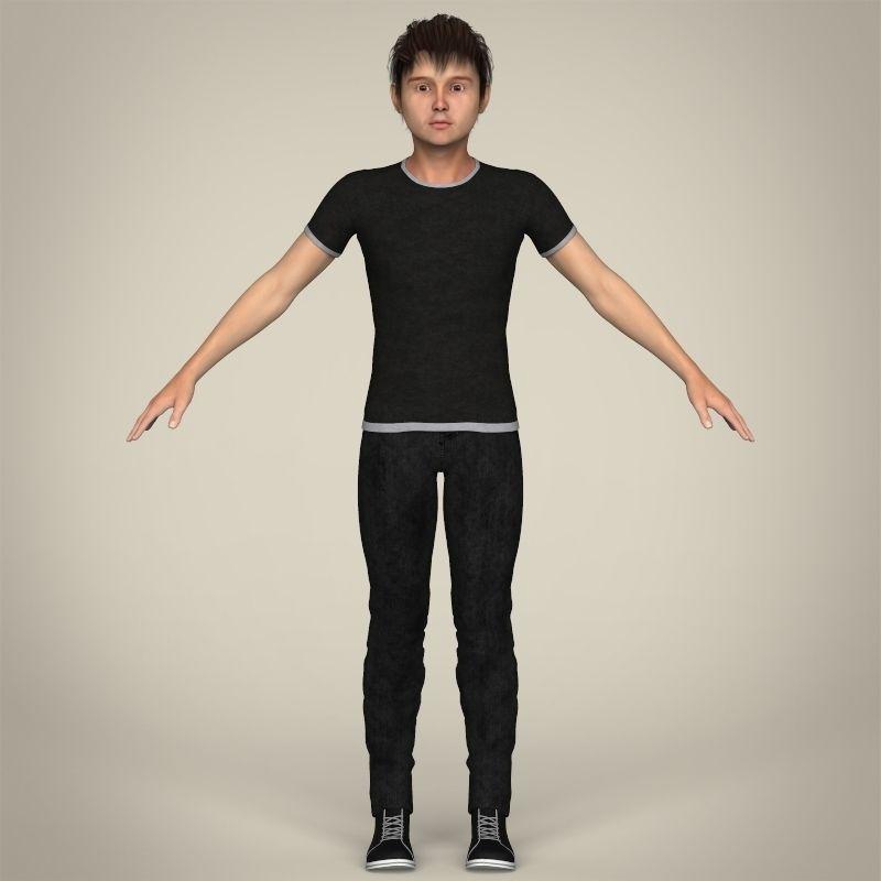 Realistic Young Teen Boy 3D Model