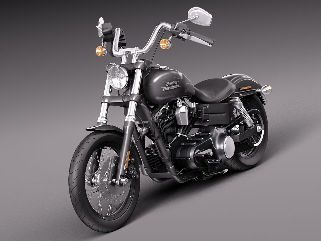 harley davidson sportster dyna street bob 2015 3d model. Black Bedroom Furniture Sets. Home Design Ideas