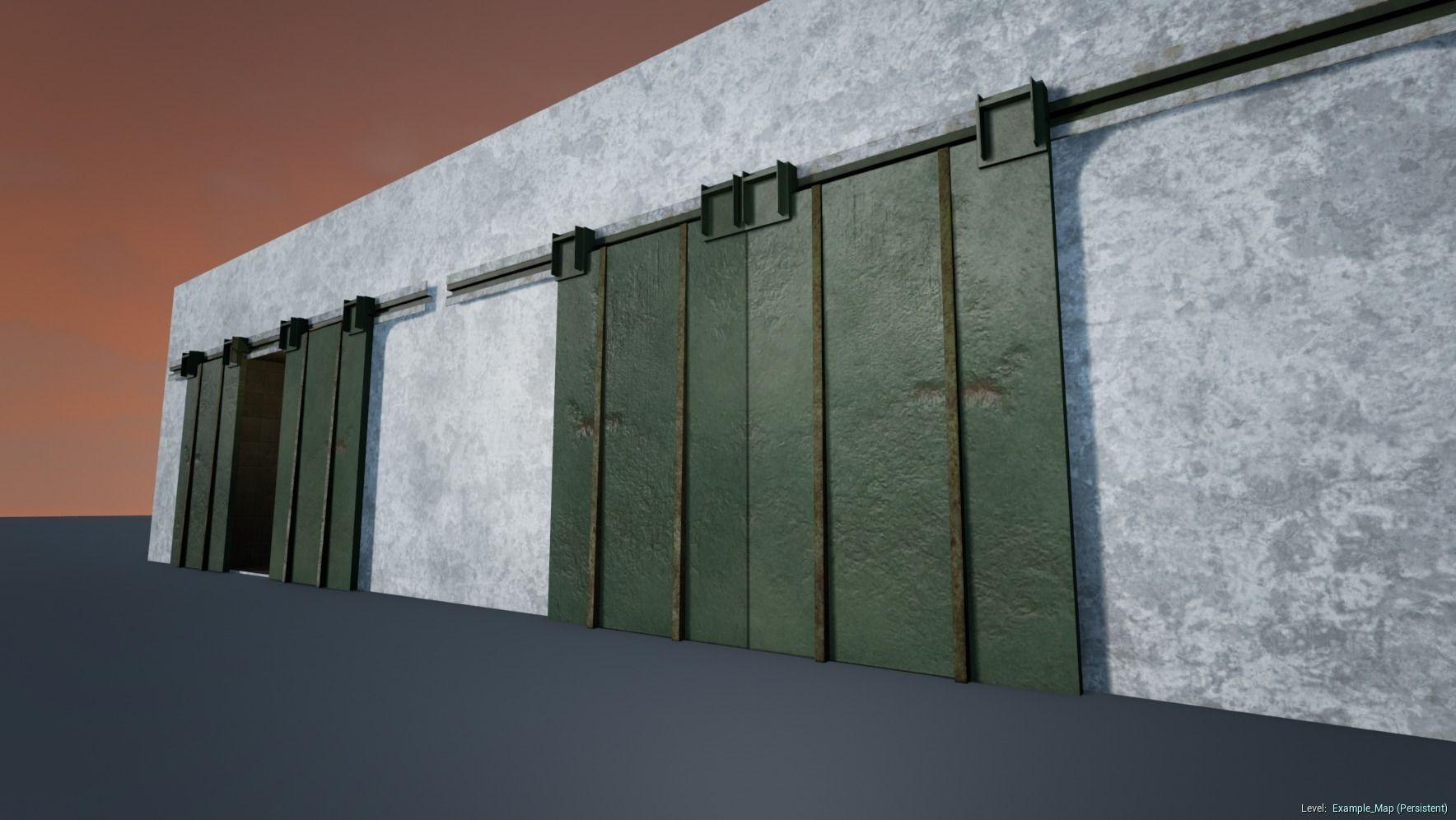 3d Model Garage Double Door Vr Ar Low Poly Obj 3ds Fbx