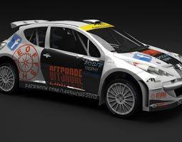 Peugeot 207 S2000 WRC Rally 3D Model