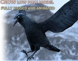 3d asset crow rigged and animated low-poly