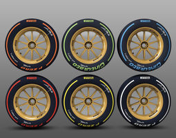 18 inches rear tyre set 3D Model