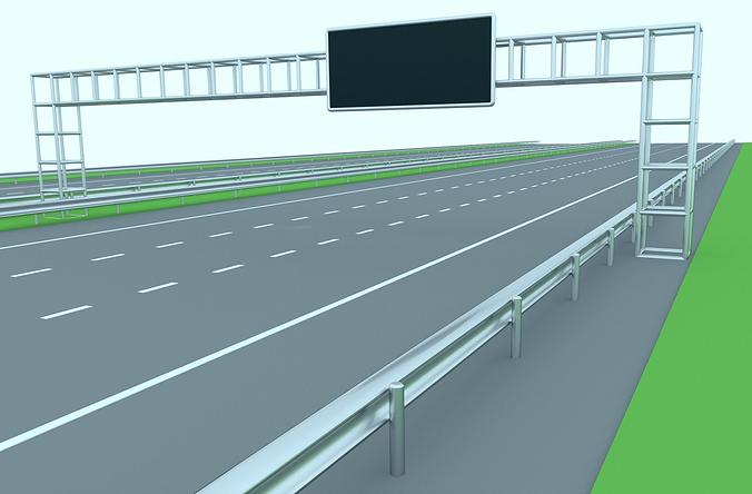 freeway or highway 3d model low-poly obj blend mtl 1