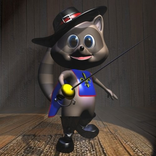 Racoon Musketeer Cartoon Character Rigged3D model