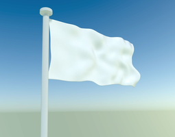Waving flag with pole 3D model