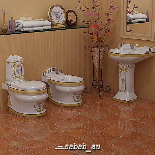 stylish toilet set 3d model max obj 3ds fbx lwo lw lws mtl