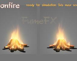 animated bonfire ready for simulation fumefx scene 3d model