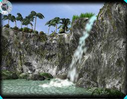 landscape waterfall 3D